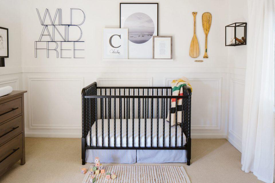 Neutral Nursery with Black crib
