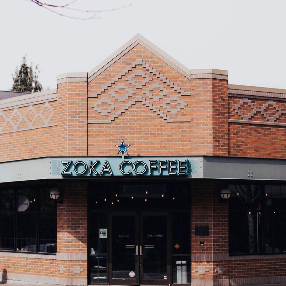 Outside of Zoka Coffee in Kirkland, WA