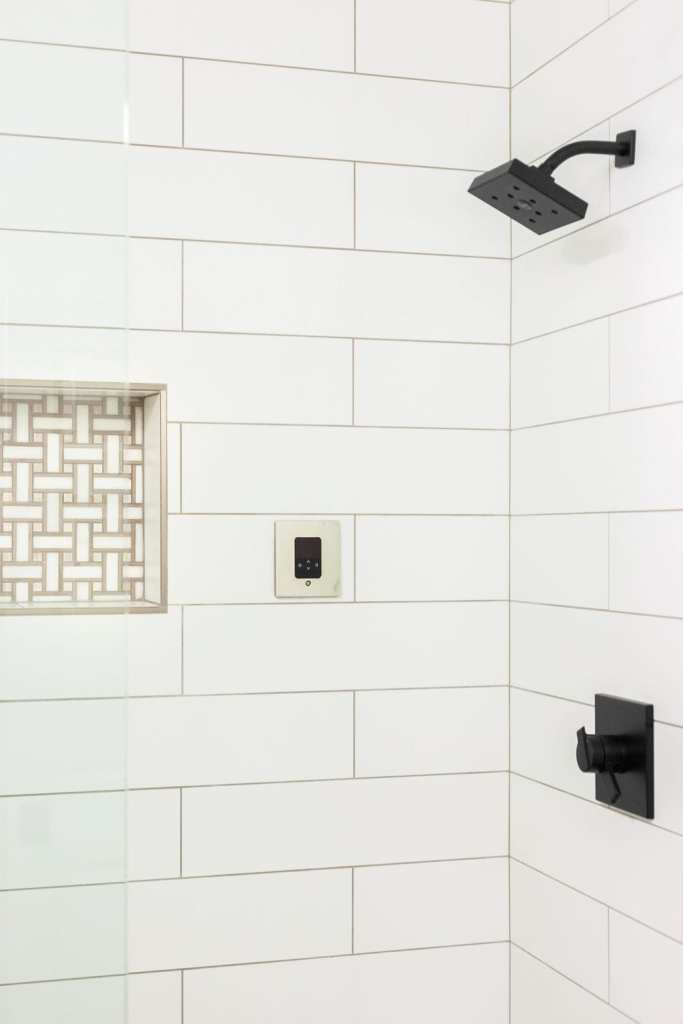 Basketweave mosaic shower tile