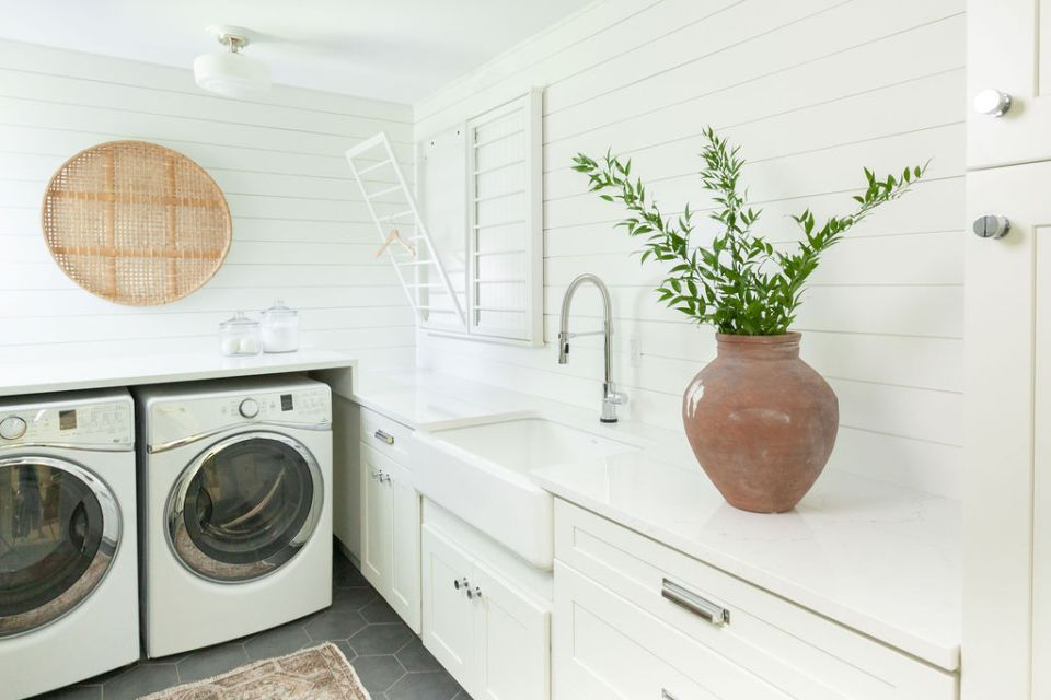 bright and airy laundry room