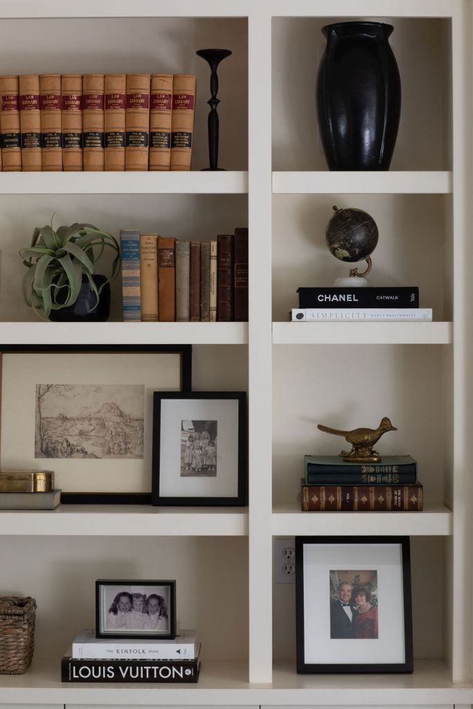 styled shelving in white built-ins