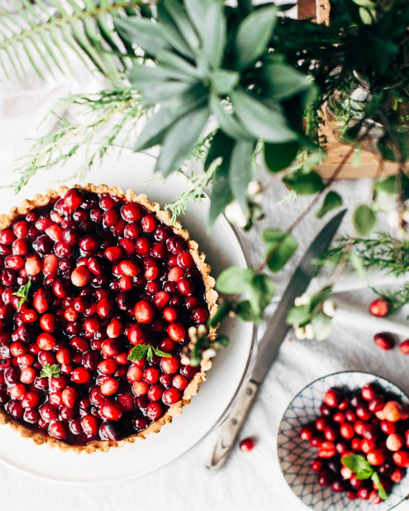 Cranberry pie on a thanksgiving table
