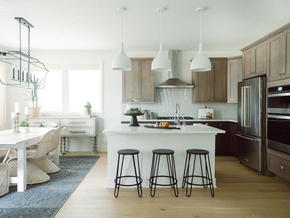 coastal modern dining room and kitchen