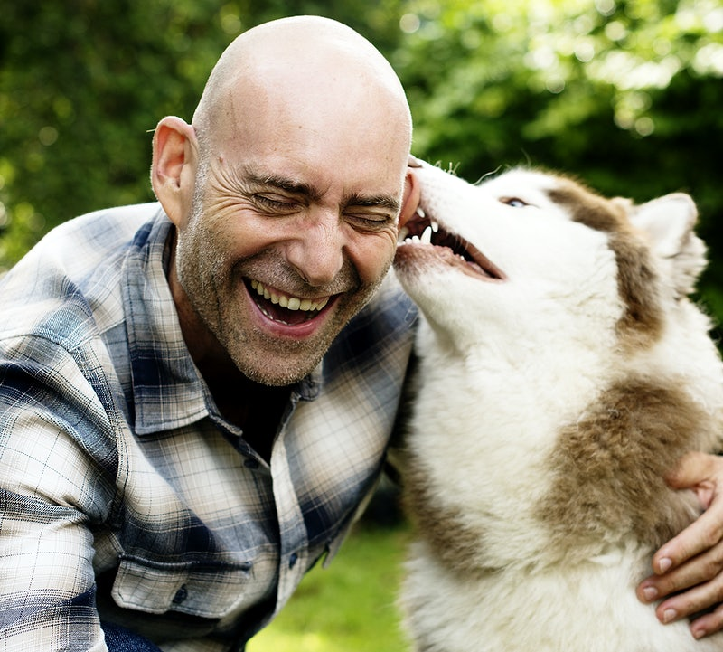 man with a husky relieving his stress