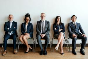 Group of employees waiting for interview