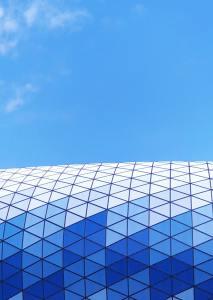 blue building and blue sky