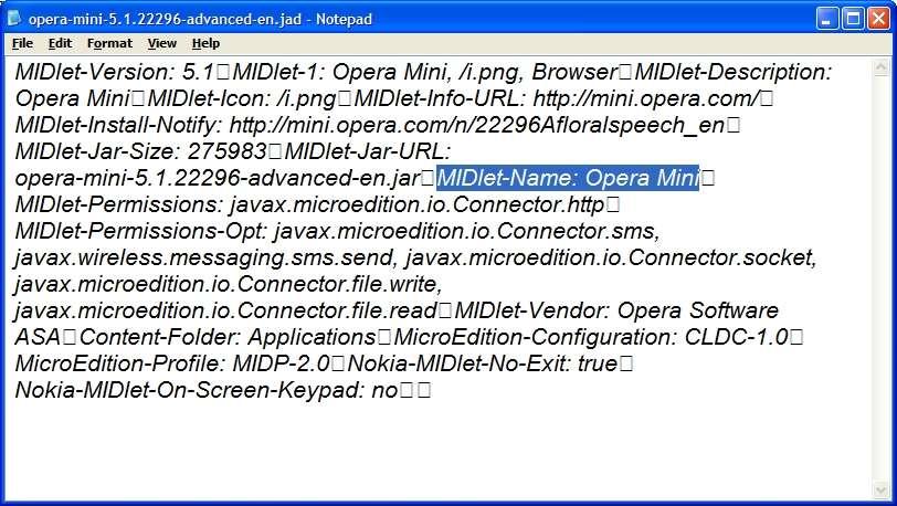 Change jad file java opera mini