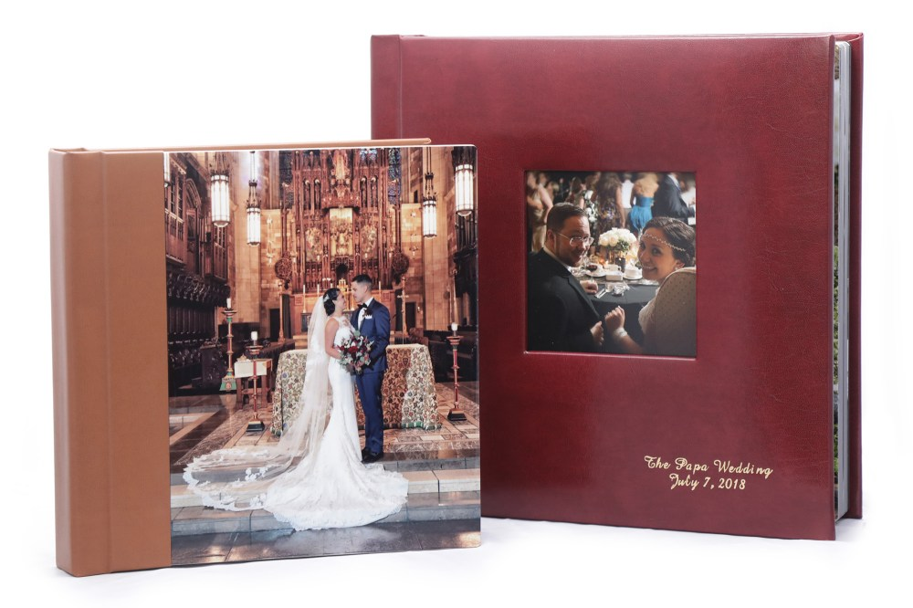 8×8 album with Metal Print cover compared to 10×10 leatherette album with cameo cut-out and front lower right corner inscription