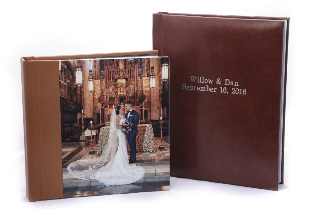 8x8 album with Metal Print cover compared to 8x10 Leatherette album with front center inscription