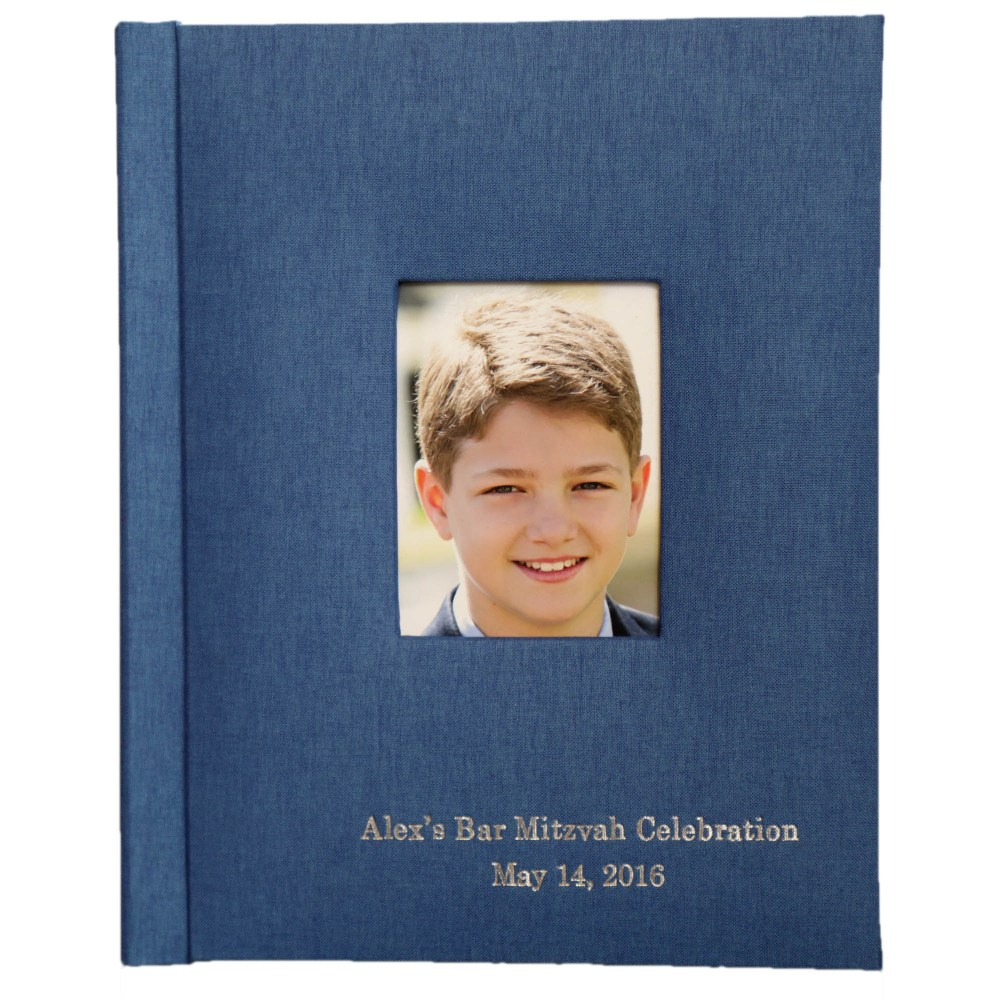 8×10 Album with linen cover in blue, 2 inscription lines, cameo cutout in center