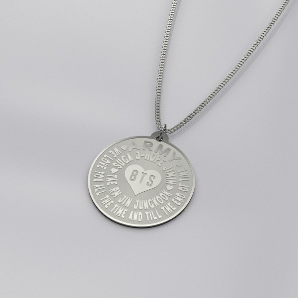 BTS We Love You Engraved Charm Necklace