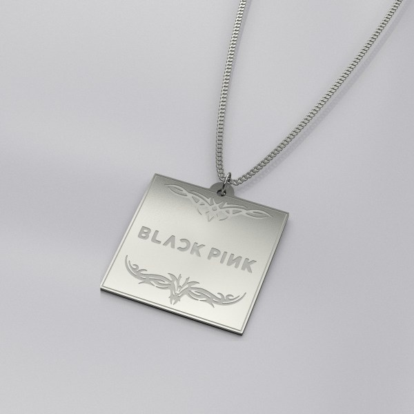BlackPink Logo Engraved Charm Necklace