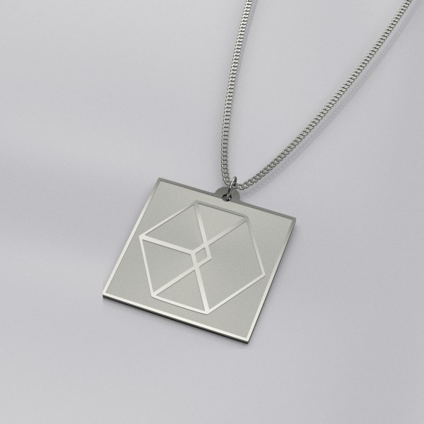 EXO Logo Engraved Charm Necklace