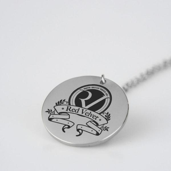 Engraved Red Velvet Logo Charm Necklace