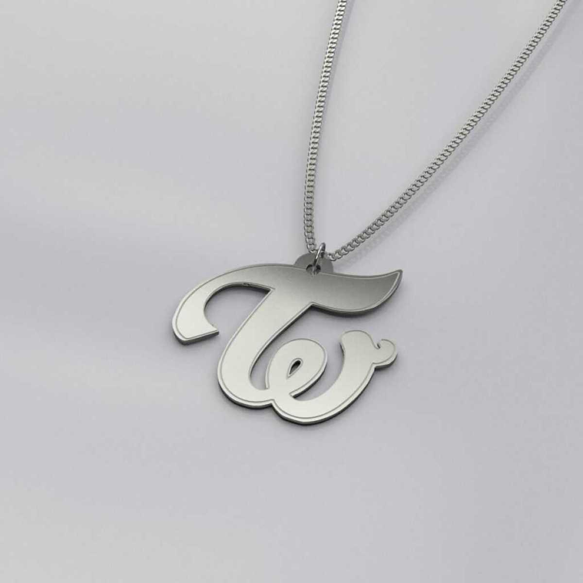 Twice Logo Engraved Charm Necklace