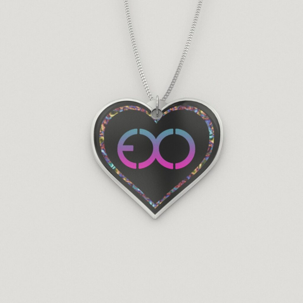 Colored EXO Logo Silver Heart Charm Necklace