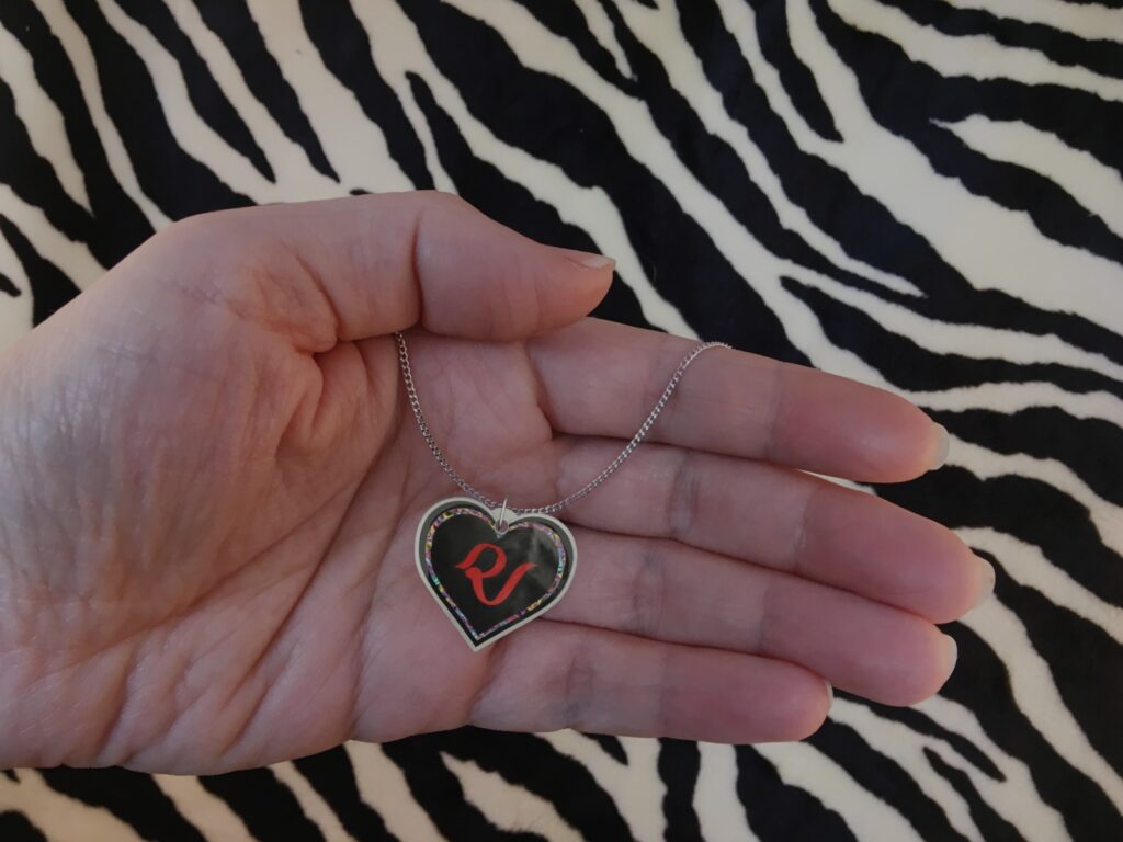 Colored Red Velvet Logo Silver Heart Charm Necklace