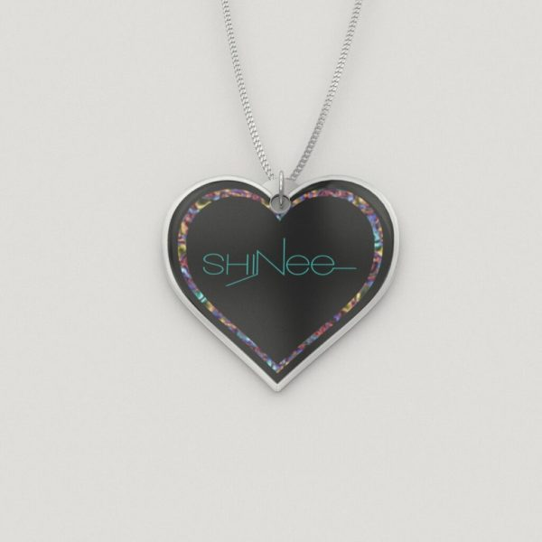 Colored Shinee Logo Silver Heart Charm Necklace