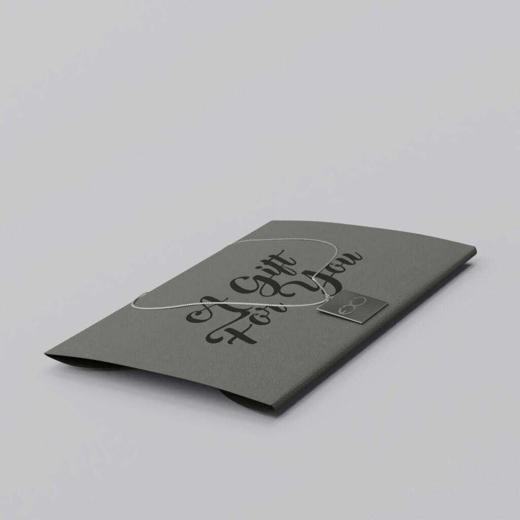 Engraved EXO Logo Silver Charm Necklace