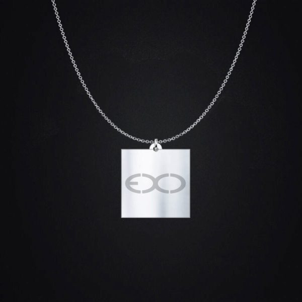 Engraved EXO Logo Silver Charm Necklace