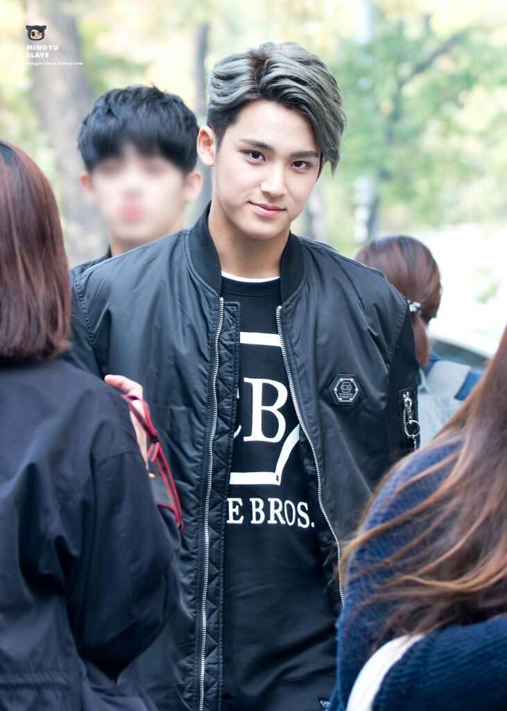 Seventeen Mingyu-kpop idol hair-kpop guy hairstyles- kpop guy hair color-kpop trending hairstyles