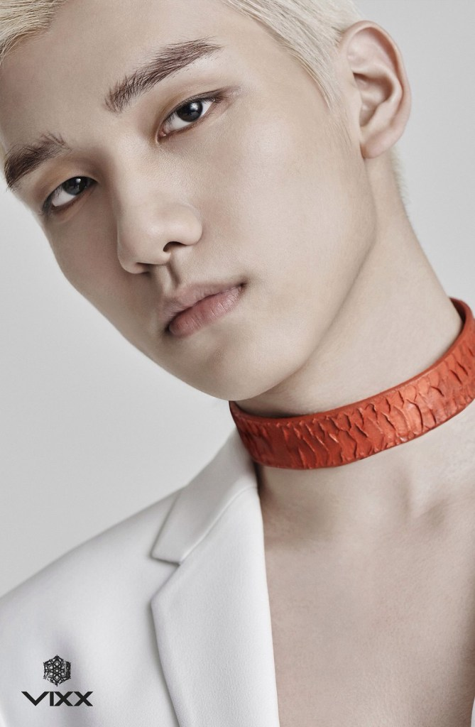 korea korean kpop idol boy band group vixx choker fashion chained up hyuk red snakeskin chokers for guys kpopstuff