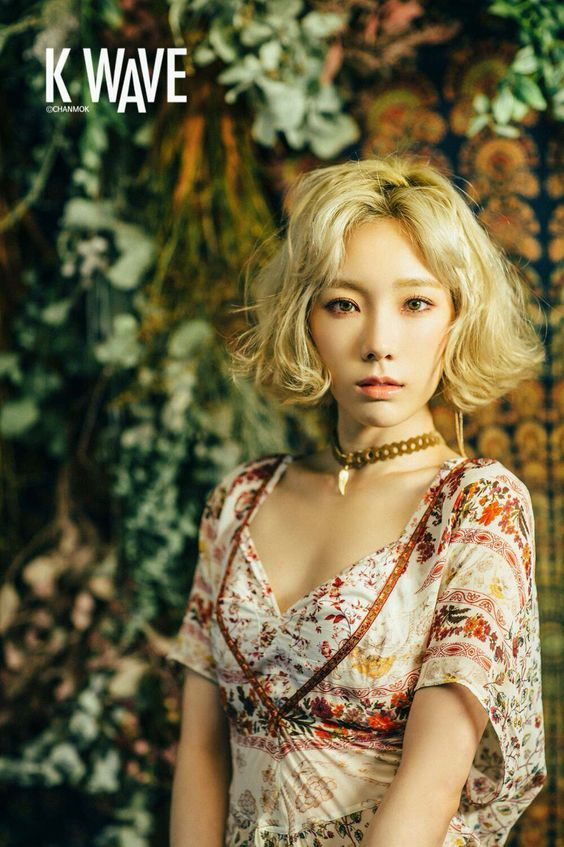 korea korean kpop idols girl group band tts snsd girls generation taeyeon short hair bob wavy boho hair hippie hairstyles for girls kpopstuff