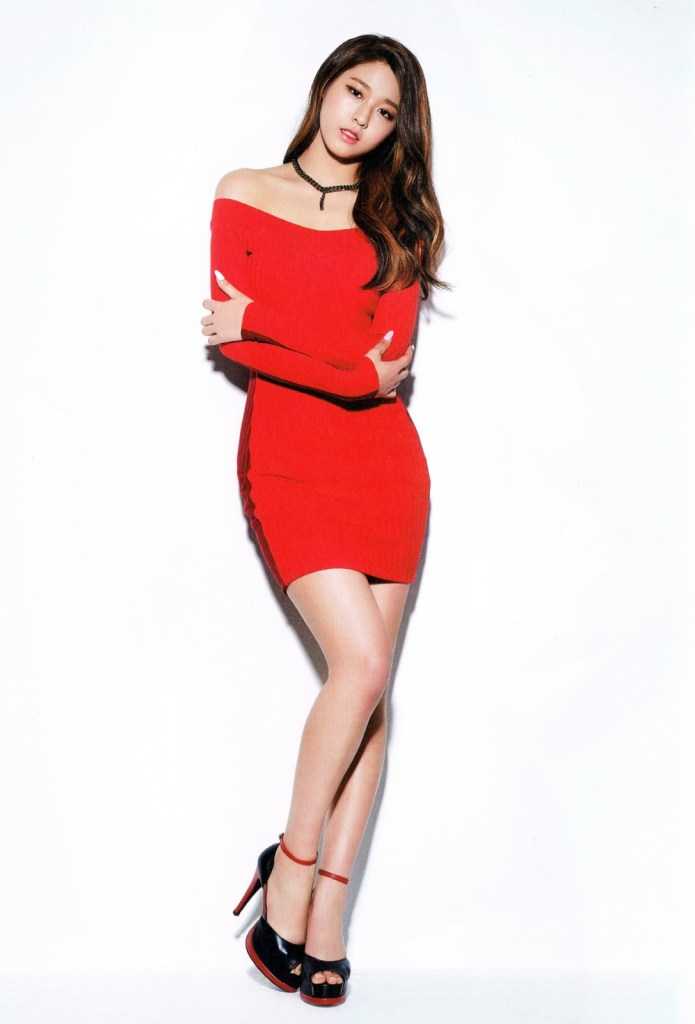 korea korean kpop idol girl band group aoa seolhyun's dress fashion red dress black heels outfit style for girls kpopstuff