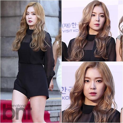 korea korean kpop idol girl band group red velvet irene's wavy hair light brown waves wavy hair permed hairstyles for girls kpopstuff
