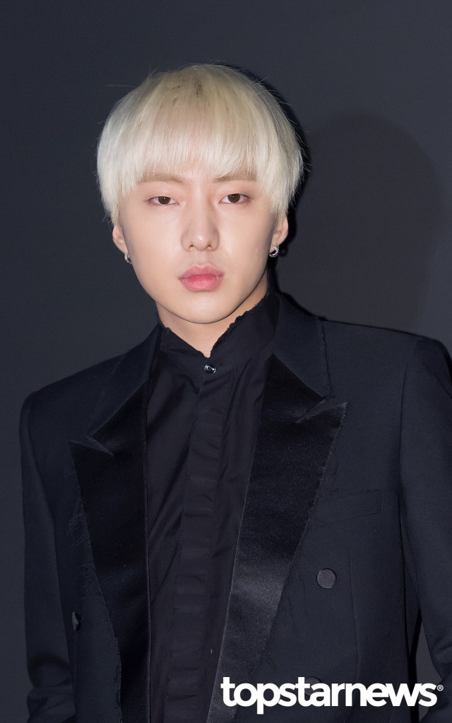 korea korean drama kdrama actor kpop idol winner mino and seungyoon at saint laurent even black formal suit outfit earrings blonde hairstyle guys men k