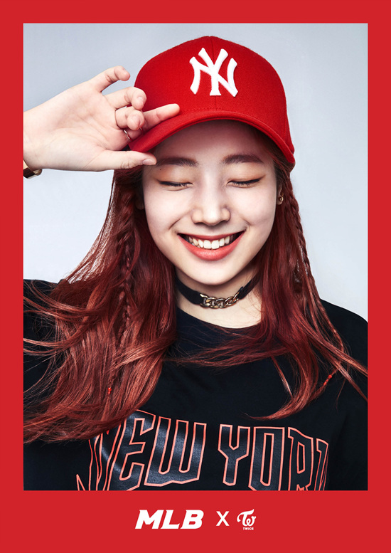 korea korean kpop idol girl group band twice's sporty looks dahyun red and black mlb yankees baseball cap outfit styles streetwear casual fashion for girls kpopstu