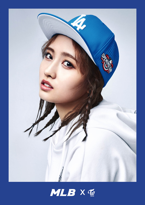 korea korean kpop idol girl group band twice's sporty looks momo blue la dodgers mlb snapback braids hair streetwear casual outfits fashion for girls kpopstuff