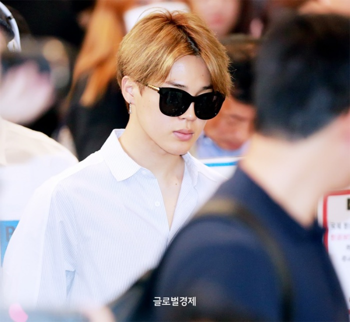 korea korean kpop idol boy band group BTS airport looks bangtan boys jimin sunglasses button up shirt fashion guys men styles kpopstuff