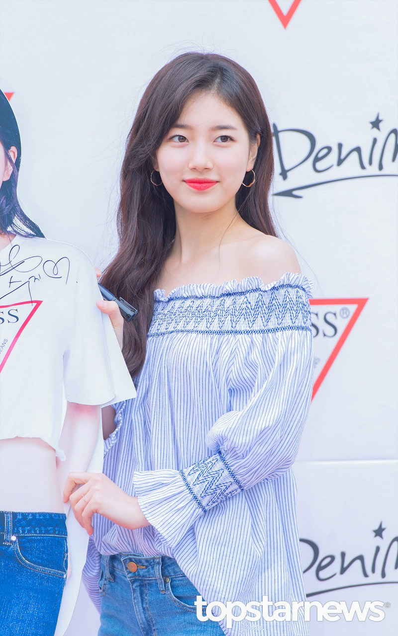 korea korean kpop idol girl group band miss a suzy's spring outfit for guess event striped off the shoulder casual girly fashion style girls women kpopstuff