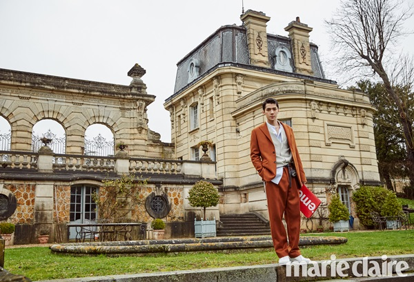 korea korean kpop idol boy band group exo sehun's fashion style for marie claire july paris photoshoot chic sporty louis vuitton supreme suit for guys men kpopstuff
