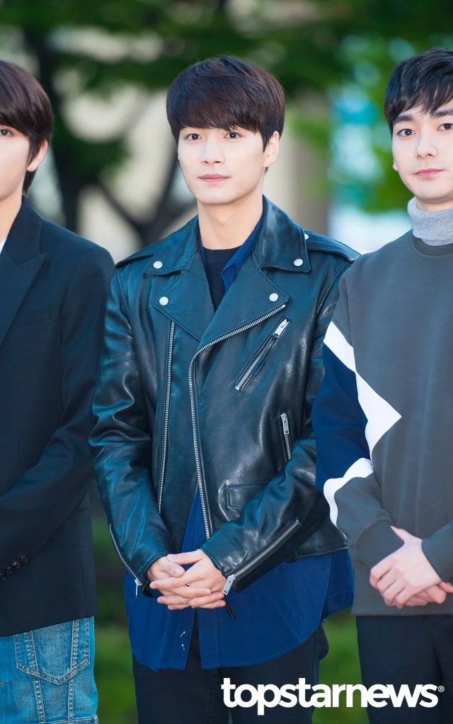 korea korean kpop idol boy band group nuest w's fashion for music bank appearance jr leather jacket layering looks outfits for guys men kpopstuff
