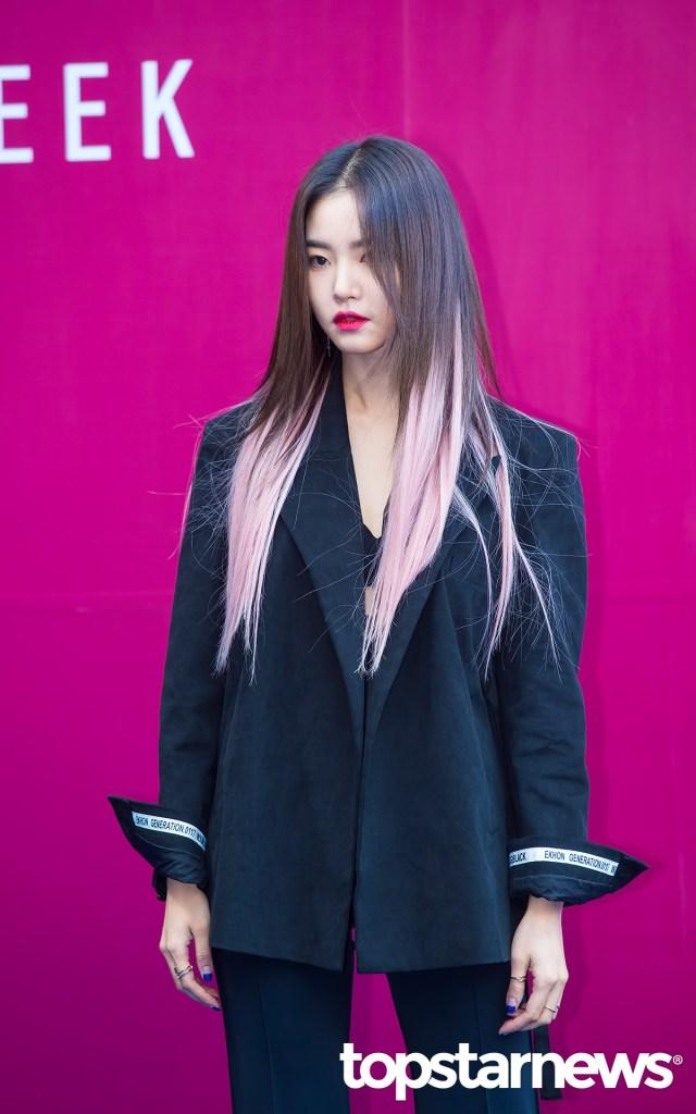 korea korean kpop idol girl group band kdrama actress hwang seung un's two tone hair pink pastel ends dip dye hairstyles girls woman kpopstuff