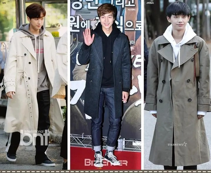 korea korean kpop idol boy band group b1a4 jinyoung actor kdrama yang se jong produce 101 idol winter outfit double button coat hoodie casual fashion styles men kpopstuff