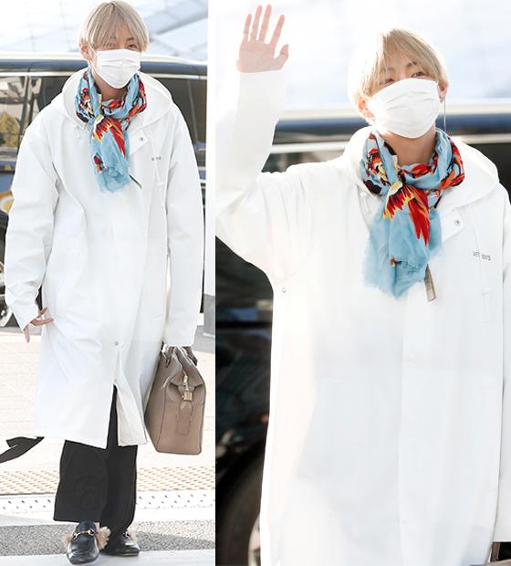 korea korean kpop idol boy band group bangtan v taehyung bts mama airport fashion luxury jacket oversized brand styles looks guys men kpopstuff
