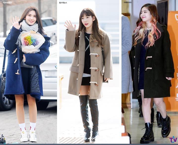 korea korean kpop idol girl group band twice ioi snsd coat black skirt idol winter outfit ideas tteokbokki duffle coat fashion styles girls women kpopstuff
