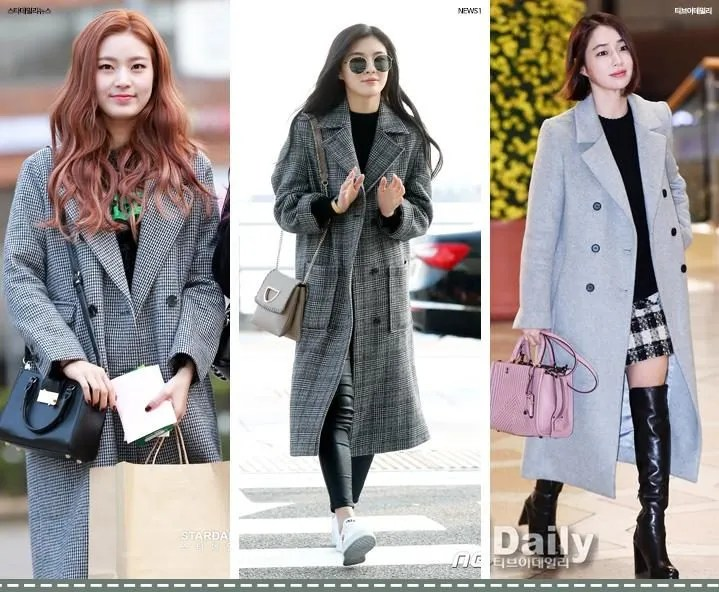 korea korean kpop idol girl group boy band kdrama actress lee ming jung lee sun bin idol winter outfit fashion grey gray coat black knit sweater girls women guys kpopstuff
