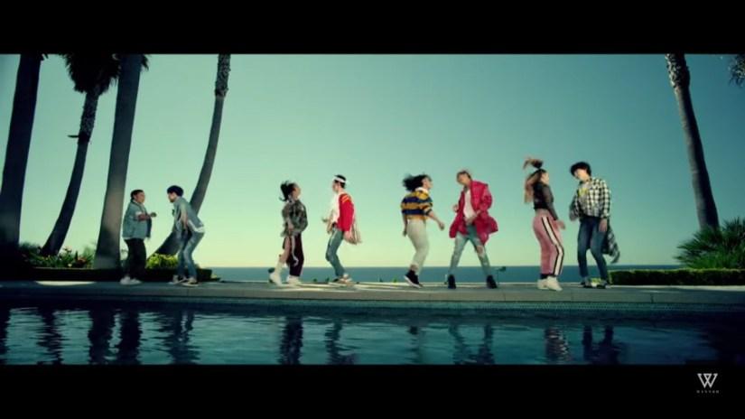 korea korean kpop idol winner winner's everyday fashion casual girl outfit trending looks women trackpants denim pants kpopstuff