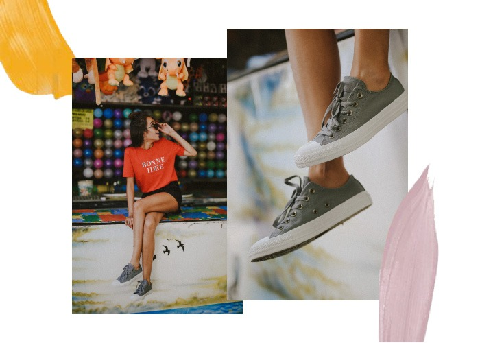 converse chuck taylor all star ox mujer gris con shorts