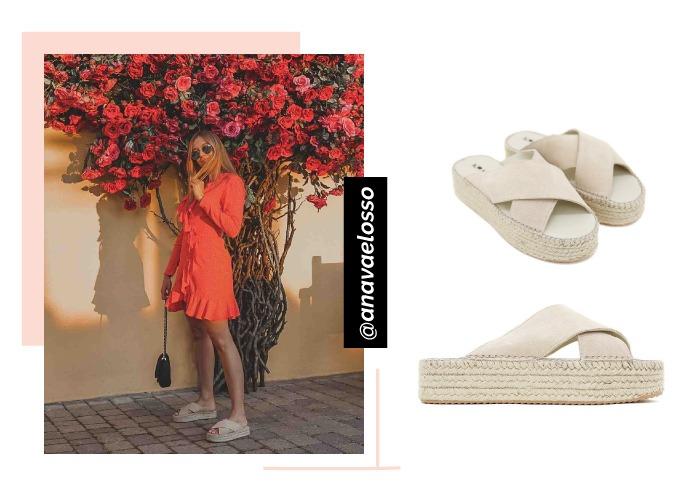 social looks instagram anavaeloso con vestido volantes rojos y maxiplataformas beige krack