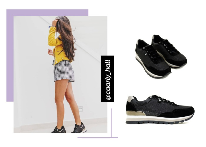 social looks outfits instagram caarly_hall con deportivas negras gioseppo