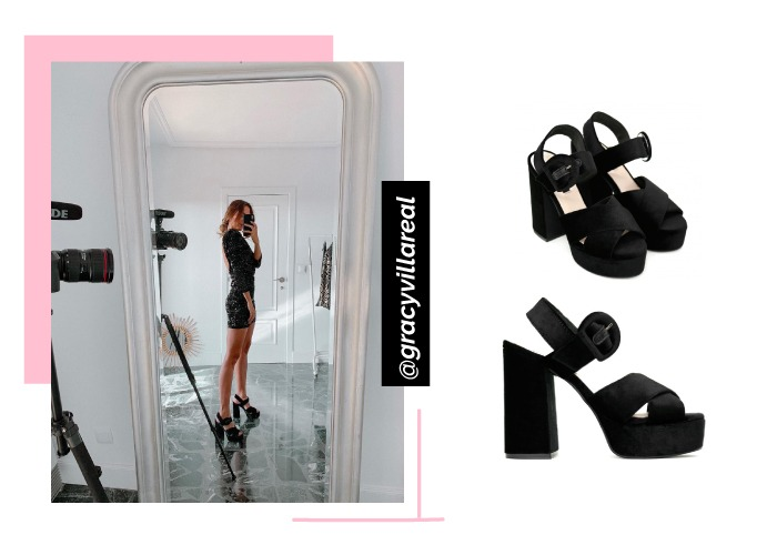 social looks zapatos instagram sandalias plataforma negras grace villareal