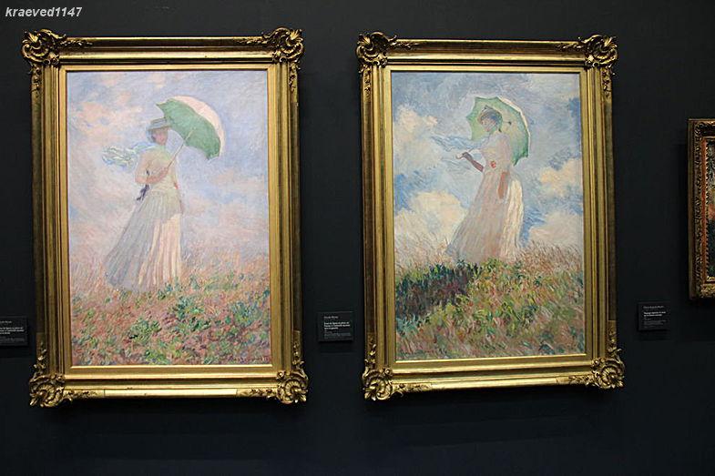 """Клод Моне """"Женщина с зонтиком склонённым вправо"""" и """"Женщина с зонтиком, склонённым влево"""""""