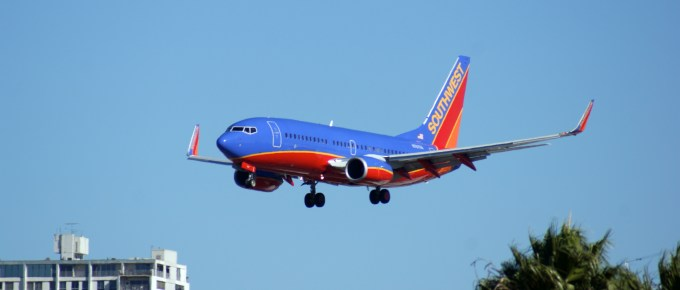 Southwest Airlines flight landing.