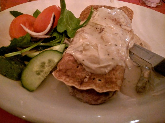 Gaelic Boxty Irish beef medallions in whiskey & mushroom cream sauce, wrapped in a traditional leitrim boxty pancake.