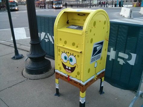Spongebob Mailbox? Really? Located across from the Navy Pier main entrance, Chicago, IL.